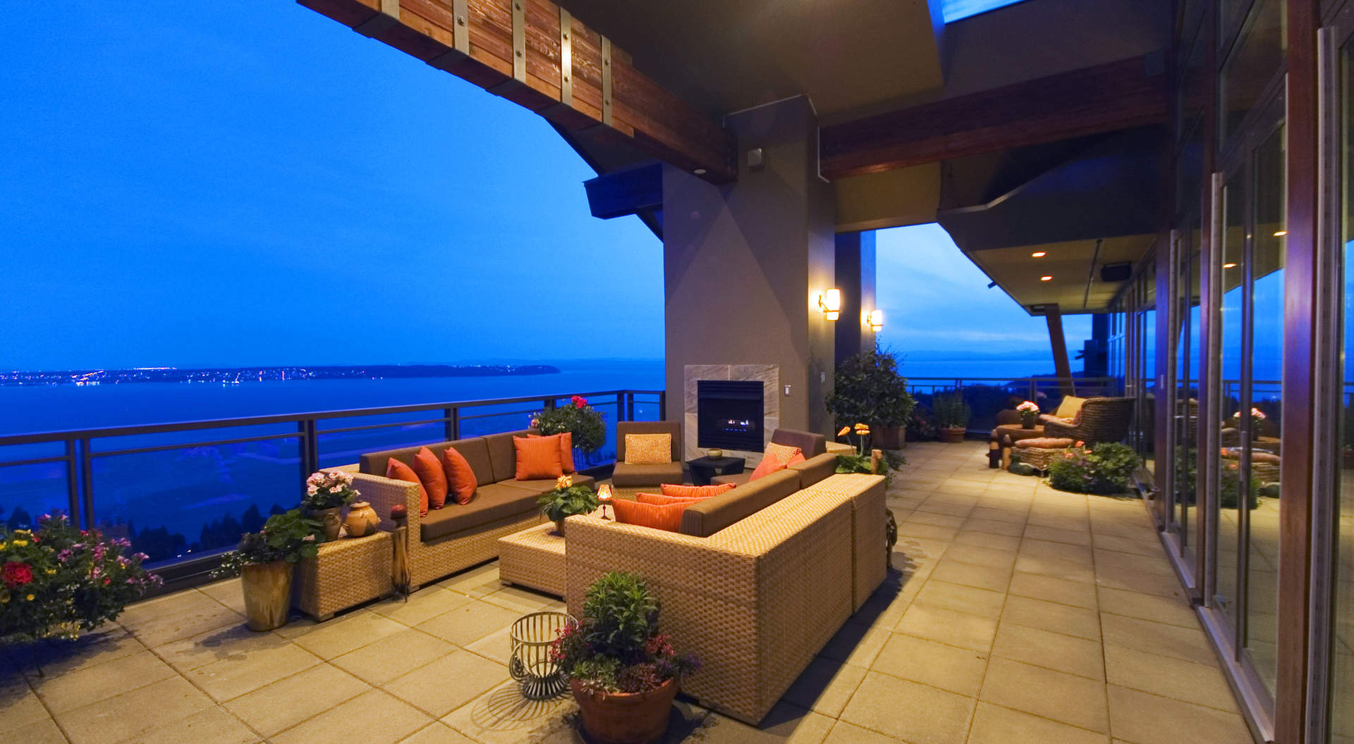 Covered Outdoor Terrace with Fireplace