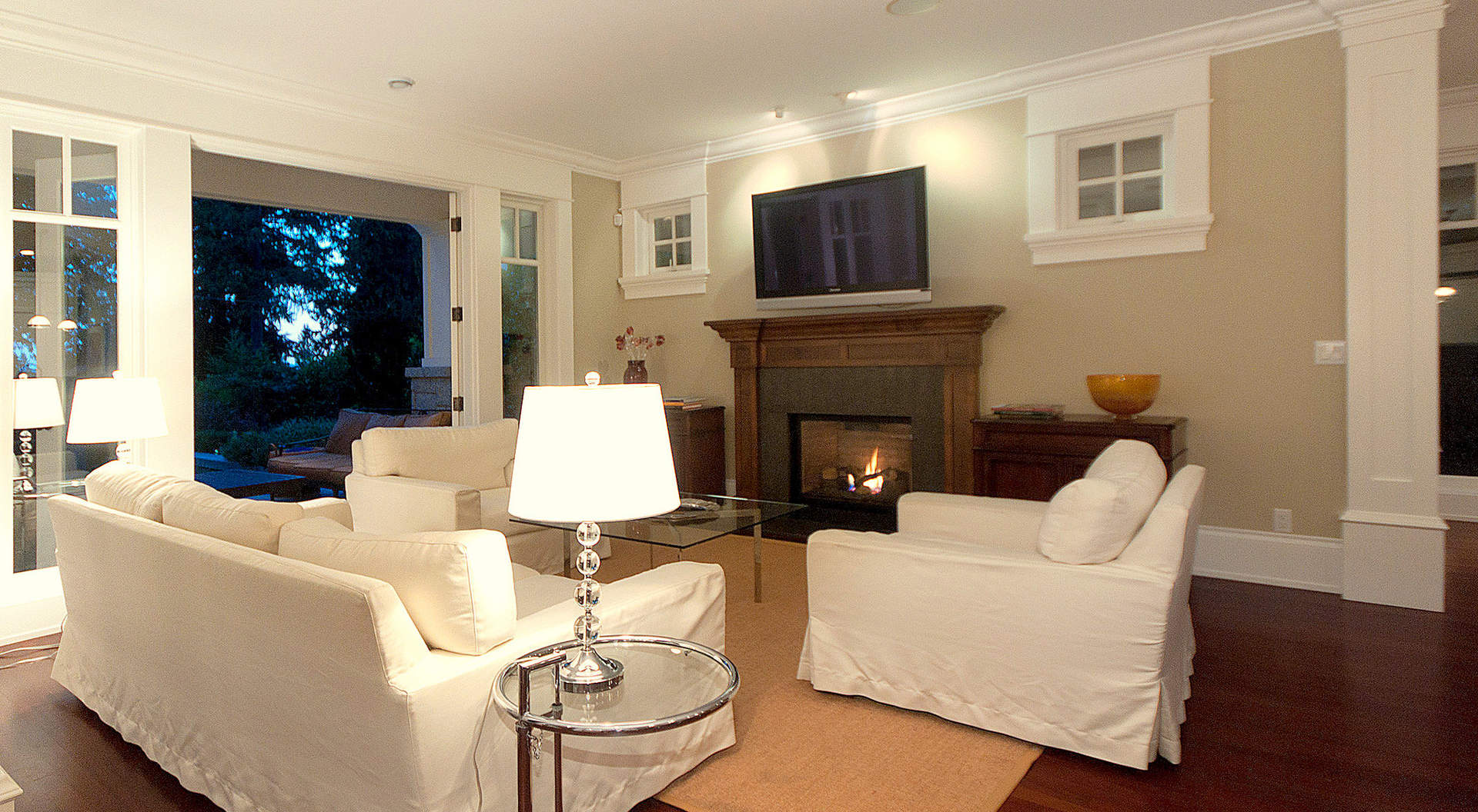 Family Room with Roaring Fireplace