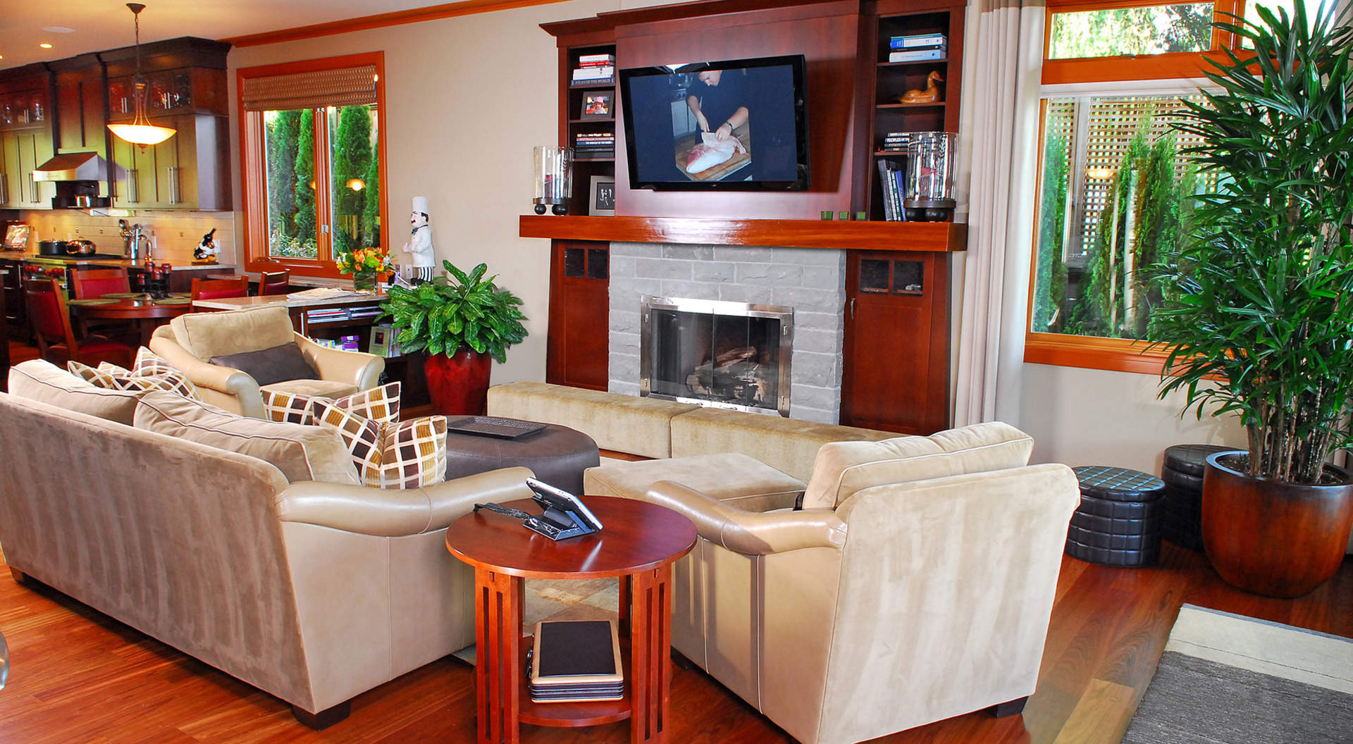 Fantastic Family Room with Roaring Fireplace
