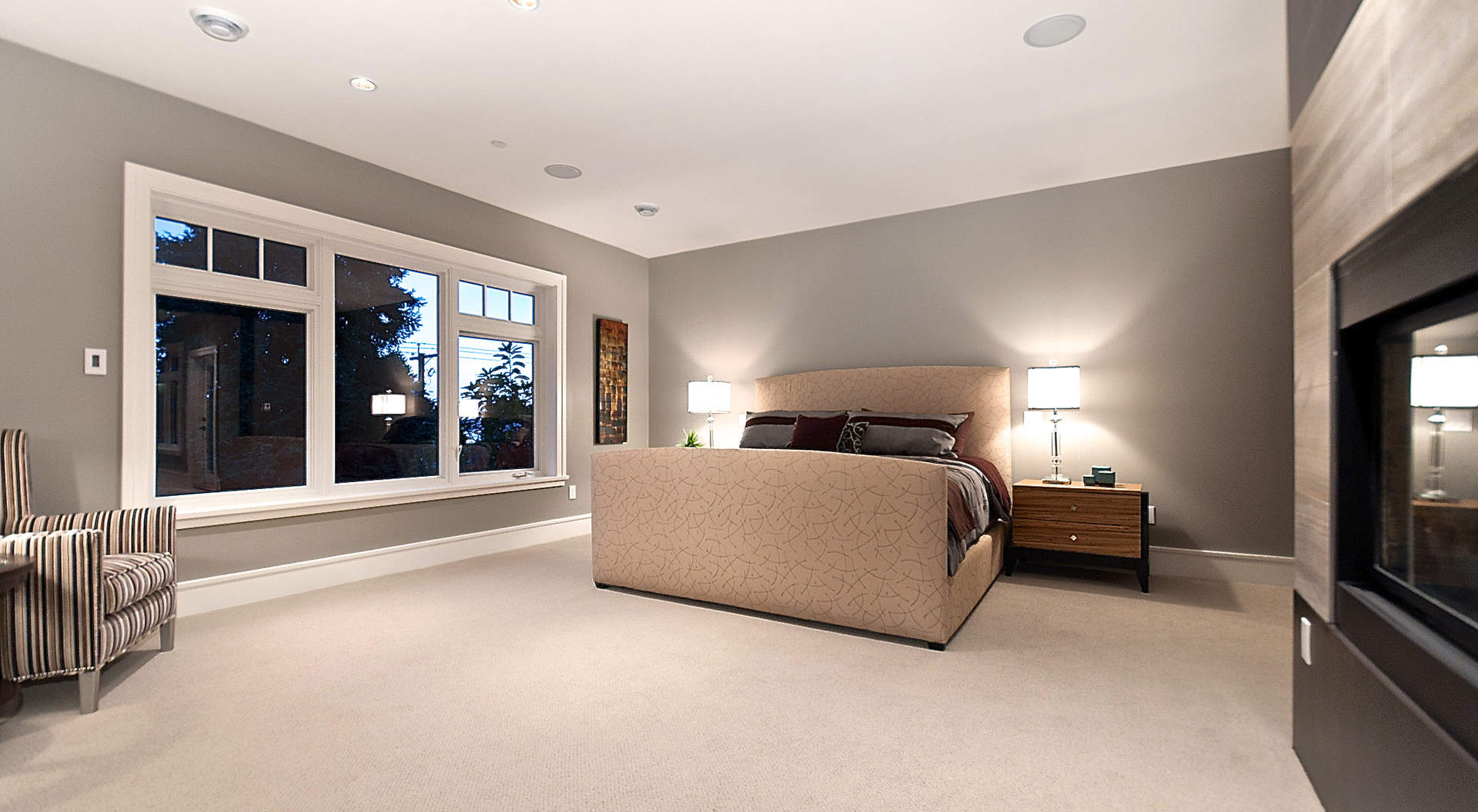Spacious Master Bedroom with Roaring Fireplace