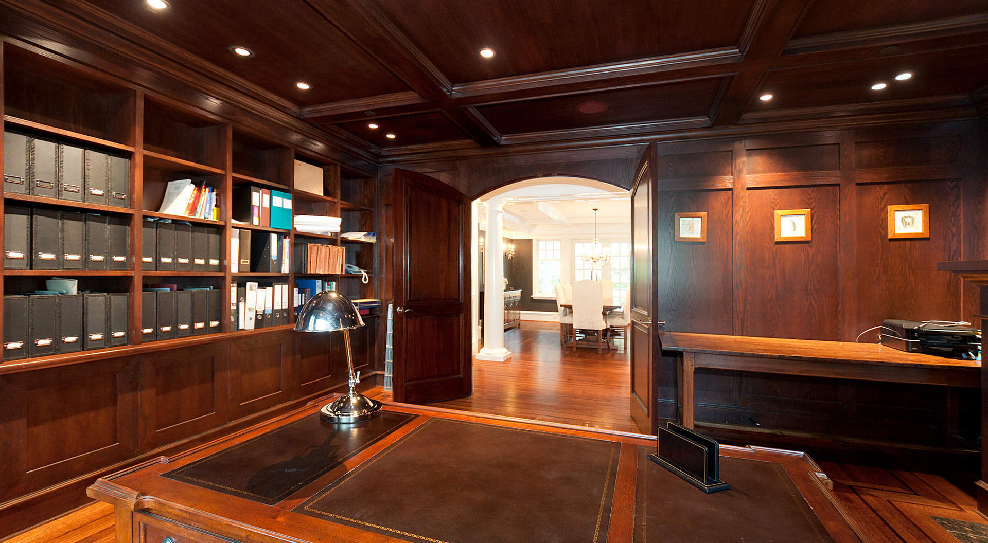 Sophisticated Study with Paneled Walls and Coffered Ceilings
