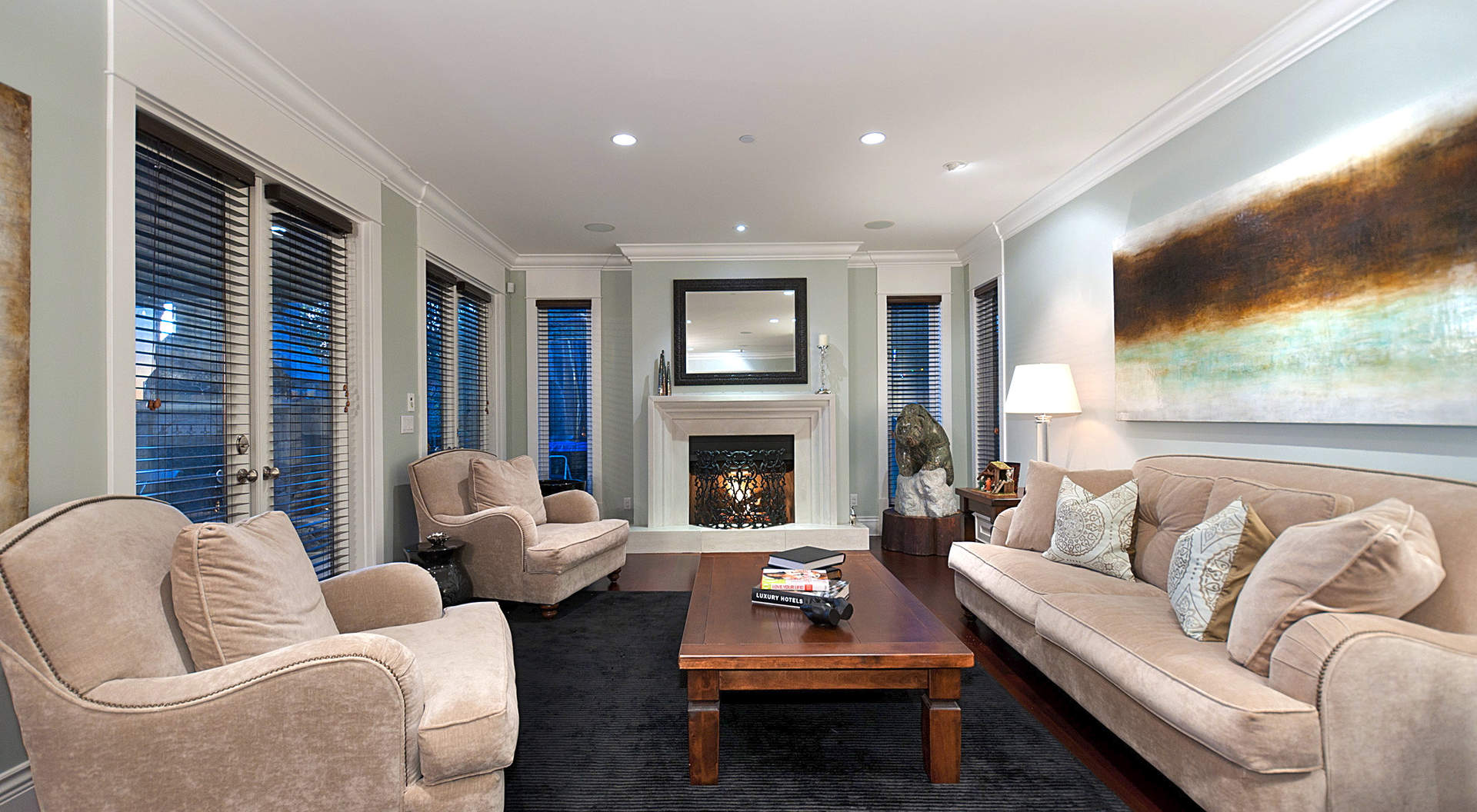 Spacious Living Area with Roaring Fireplace