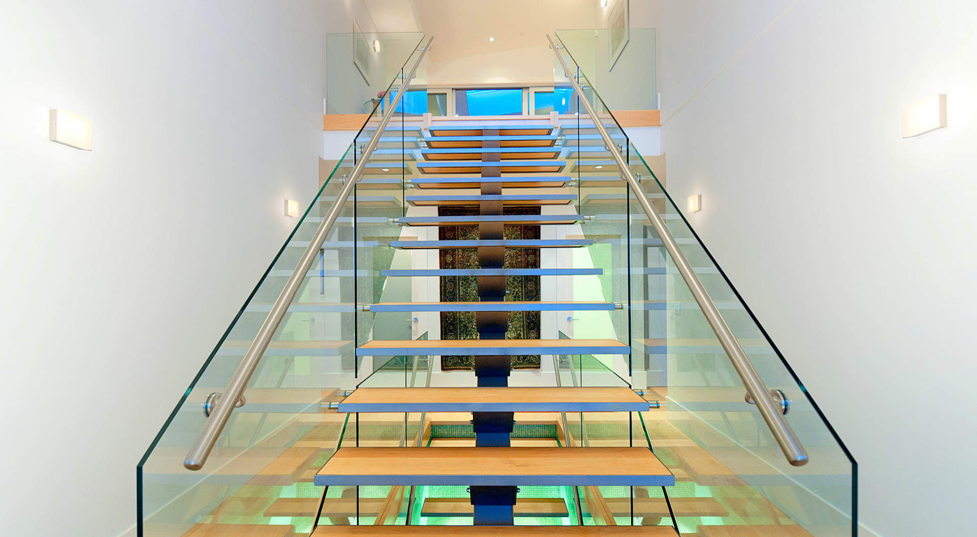 Smashing Suspended Staircase Made of Glass & Steel