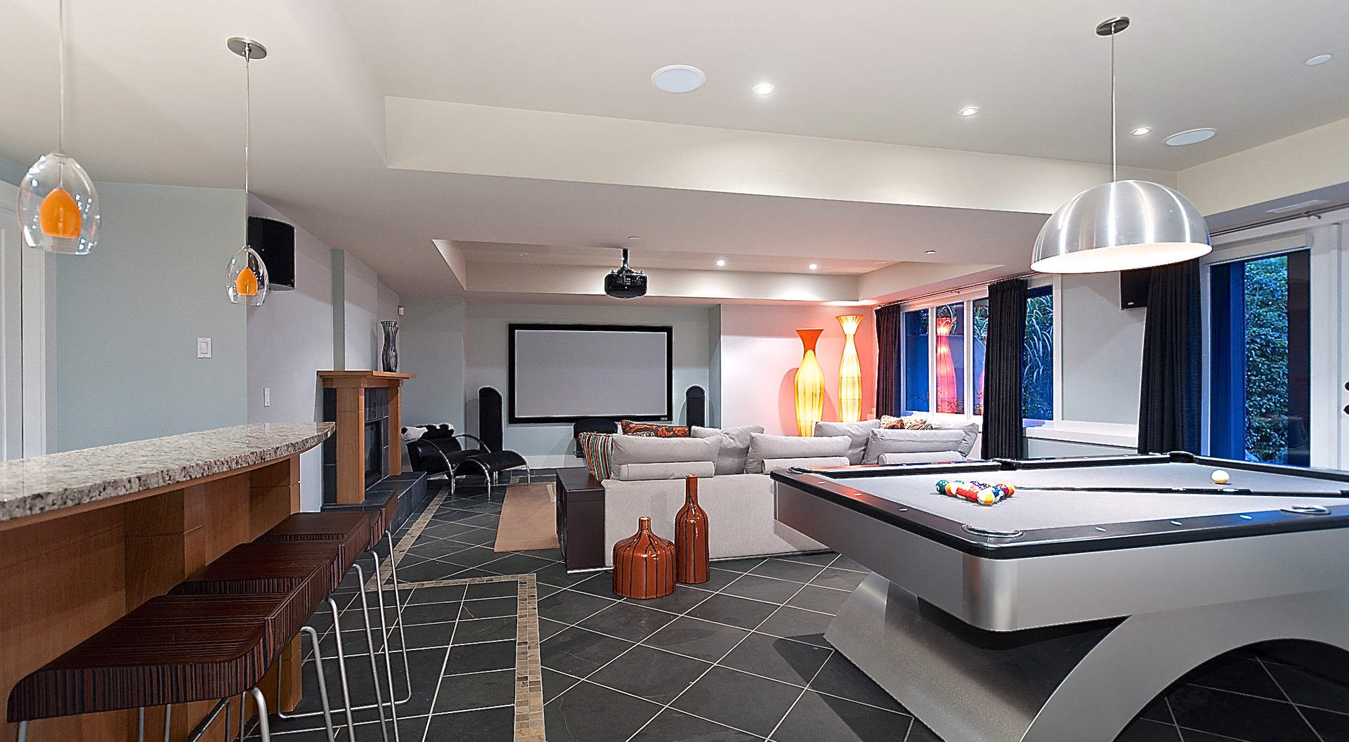 Fantastic Recreation Room with Games & Media Areas to Entertain
