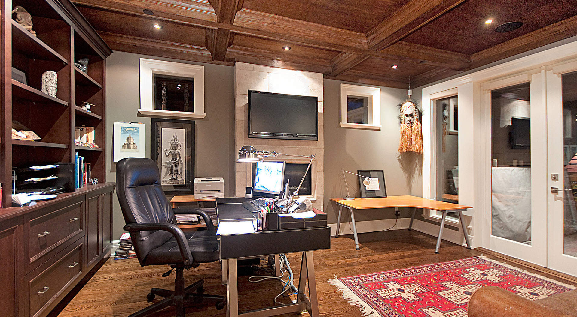 Private Office with Paneled Ceilings and Custom Built-ins