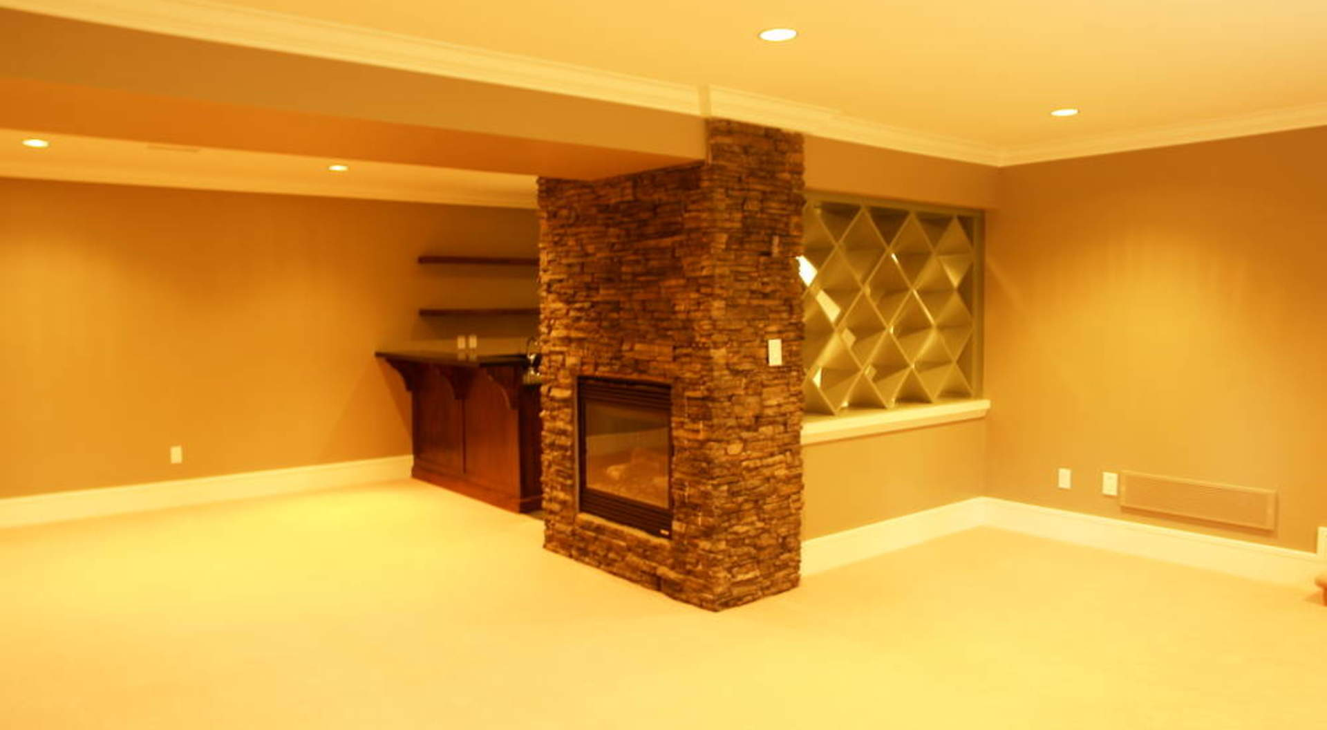 Recroom With Wet Bar & Fireplace