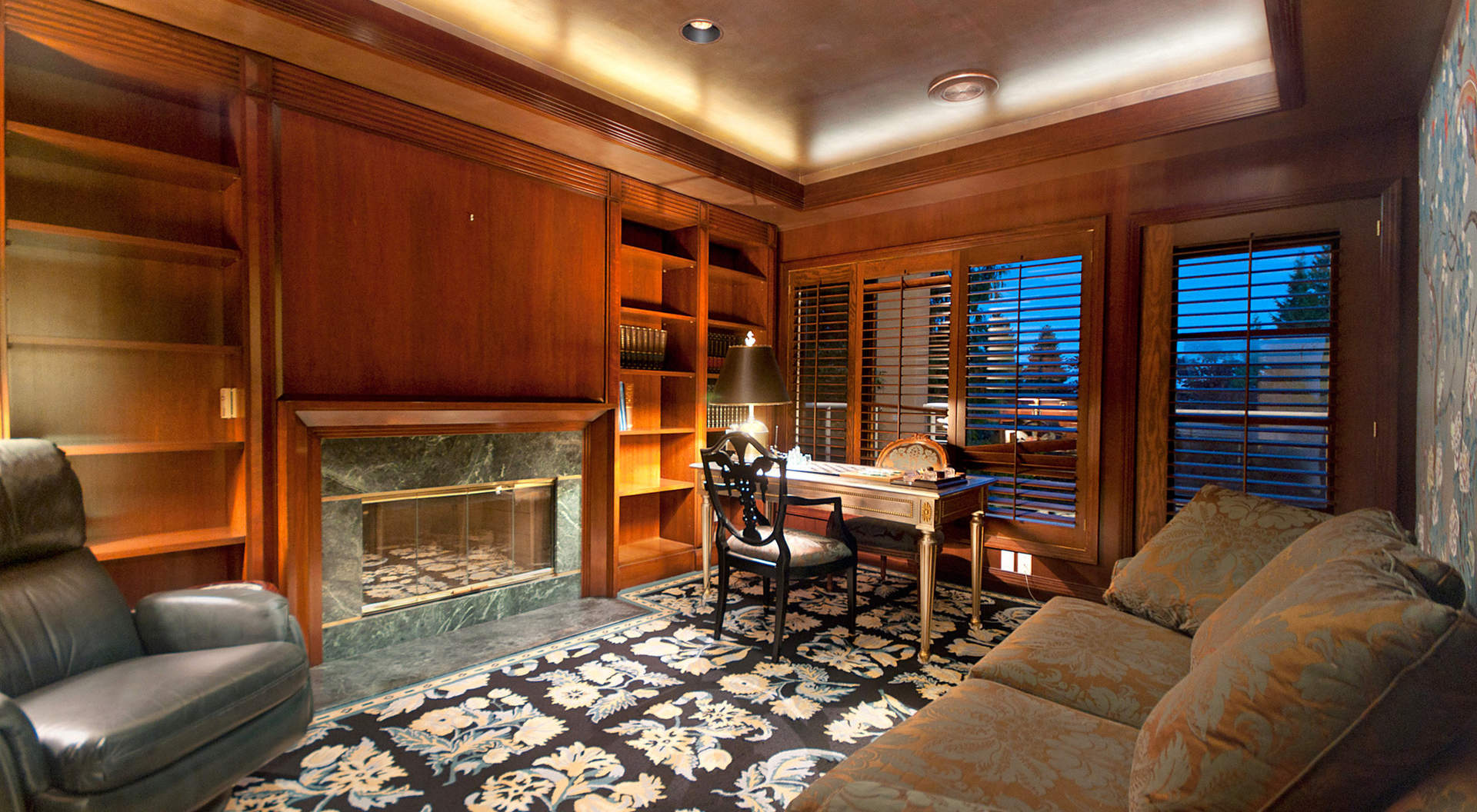 Private Den with Wood Panelled Walls