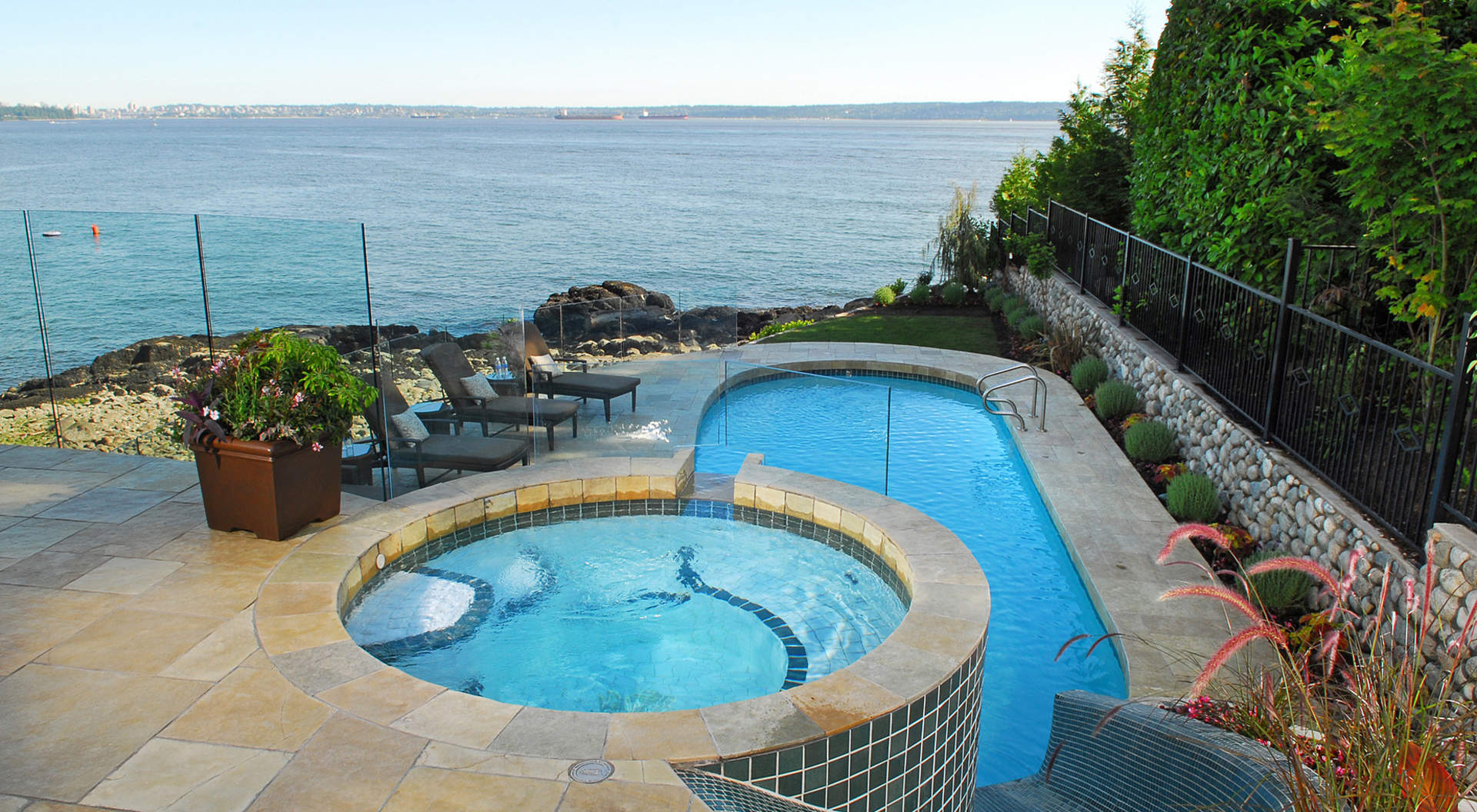 Spectacular Seaside Pool and Hot Tub with Water Slide