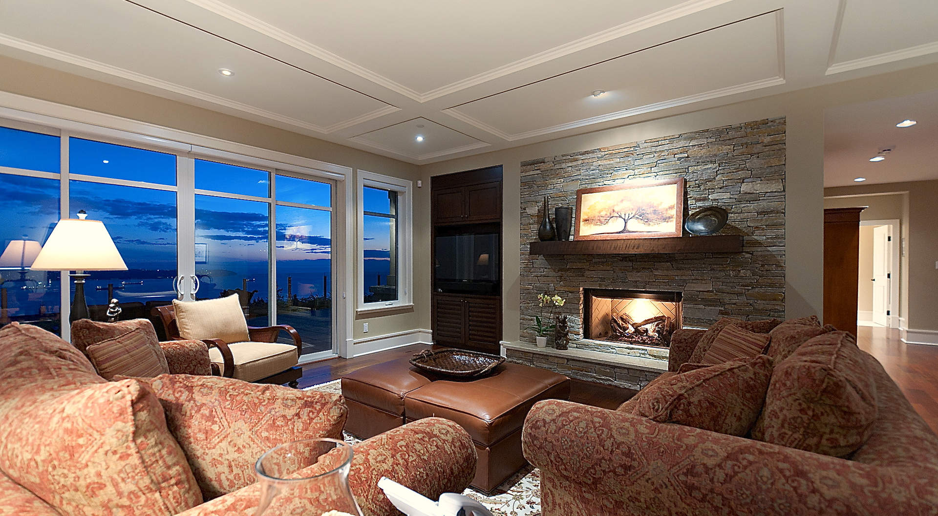 Beautiful Stone Fireplace & Media Center