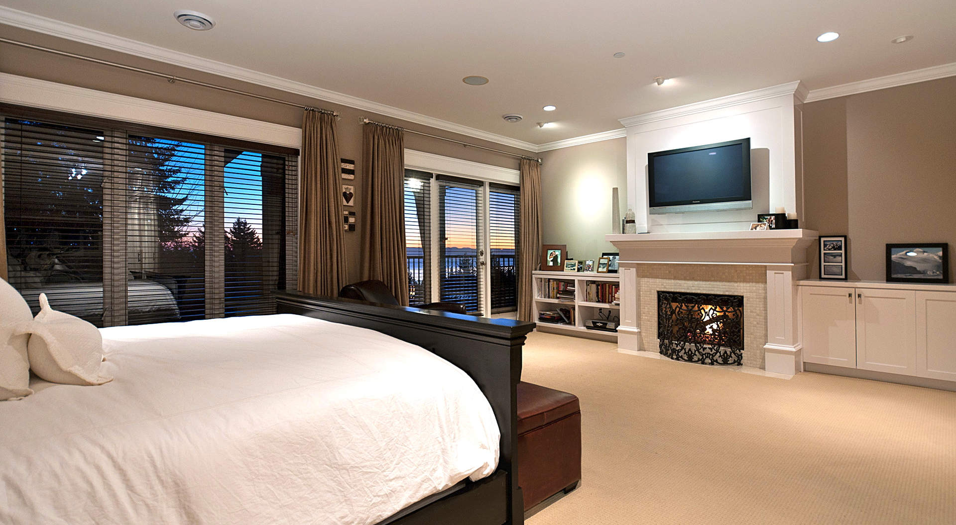 Master Bedroom with Built-in Media Center & Fireplace