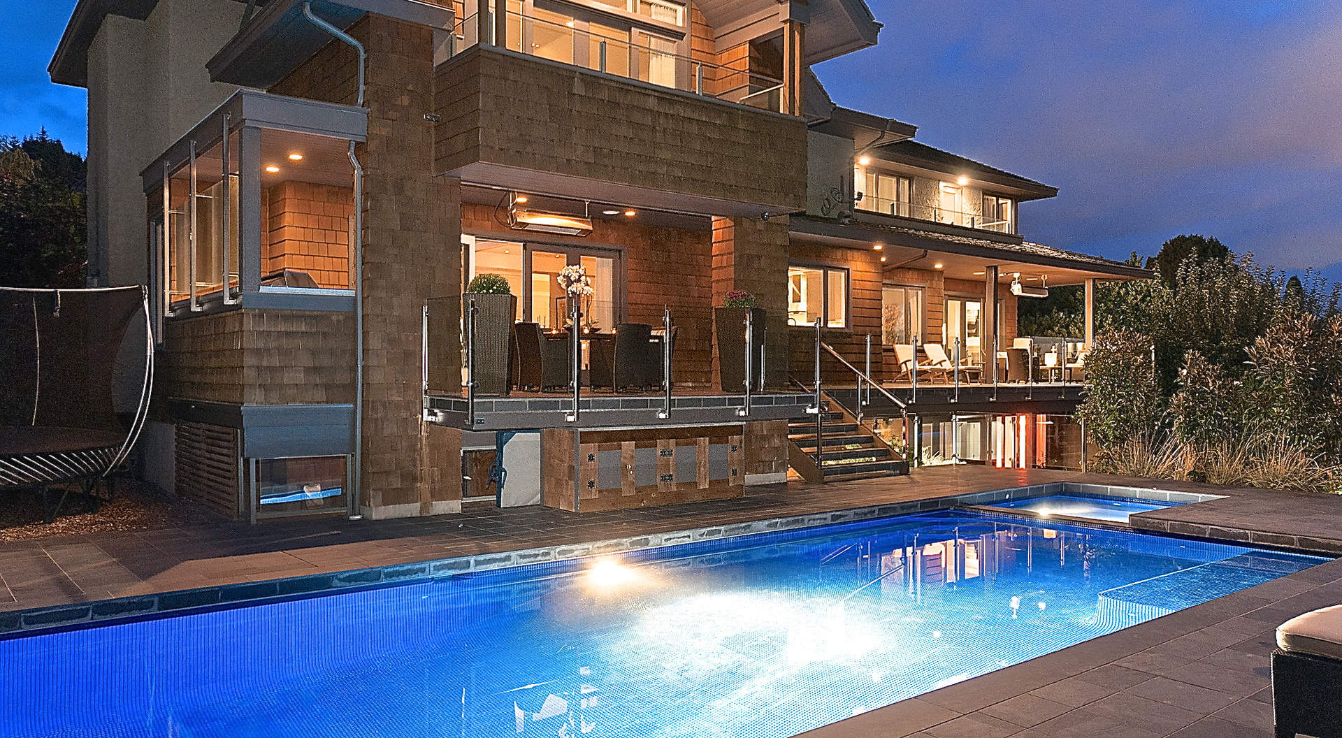 A Sparkling Outdoor Pool and Hot Tub