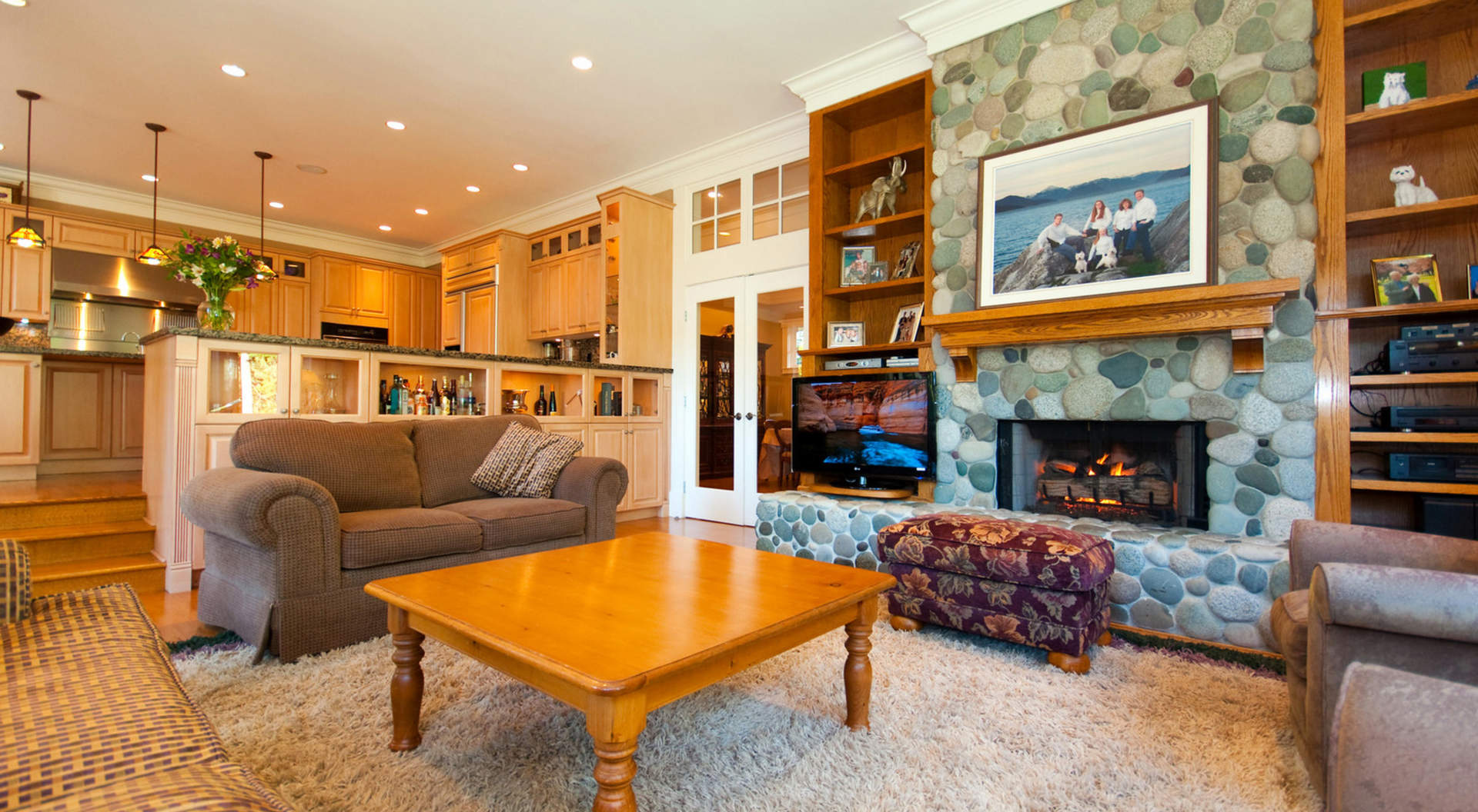 Family Room with Fireplace and Media Center
