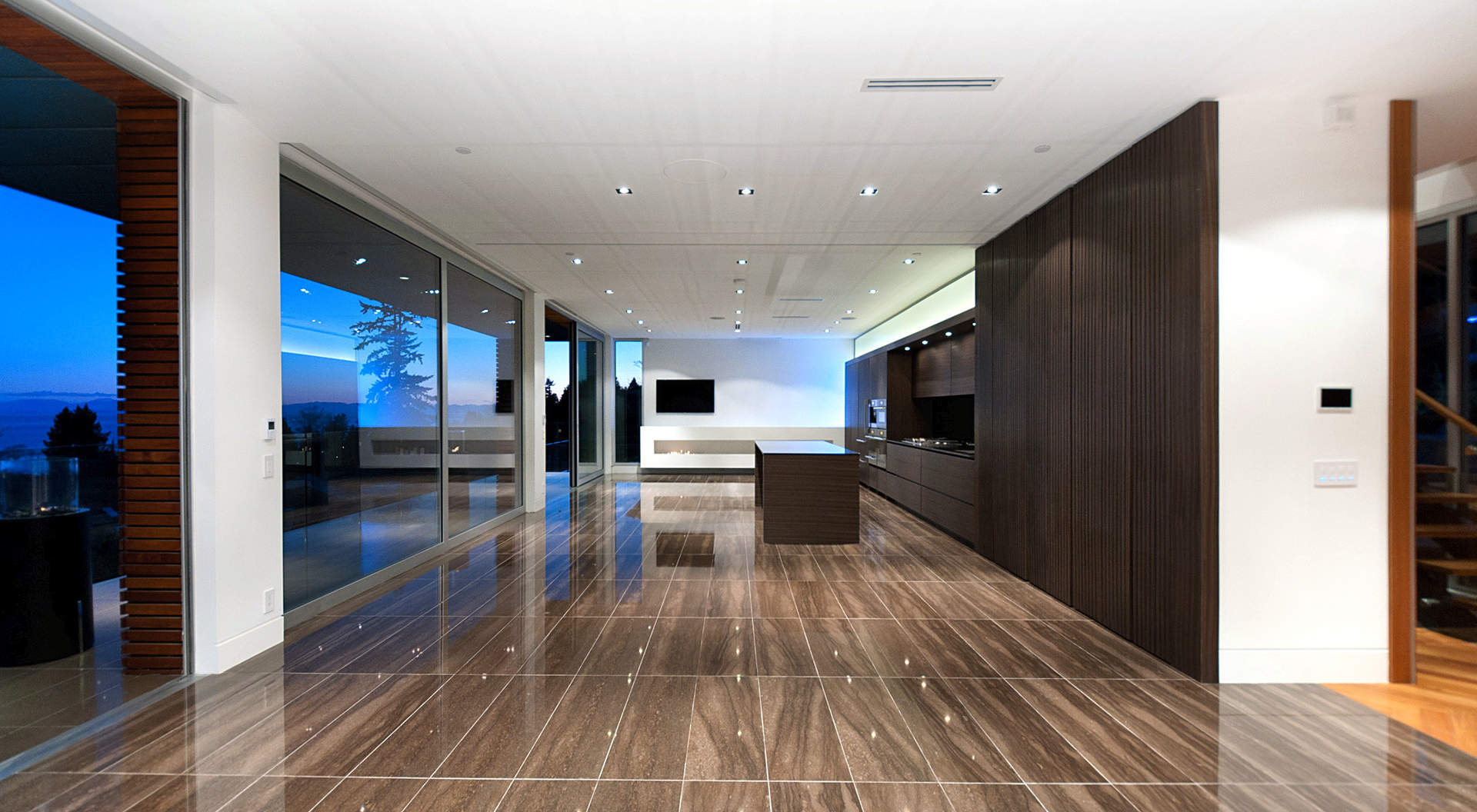 "Polished ""Pierre Brulee"" Stone Flooring through-out the Main Level"