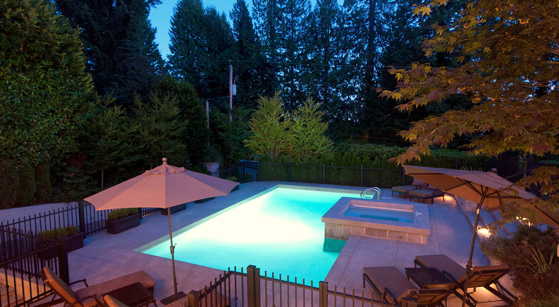 South Facing Outdoor Pool at Twilight