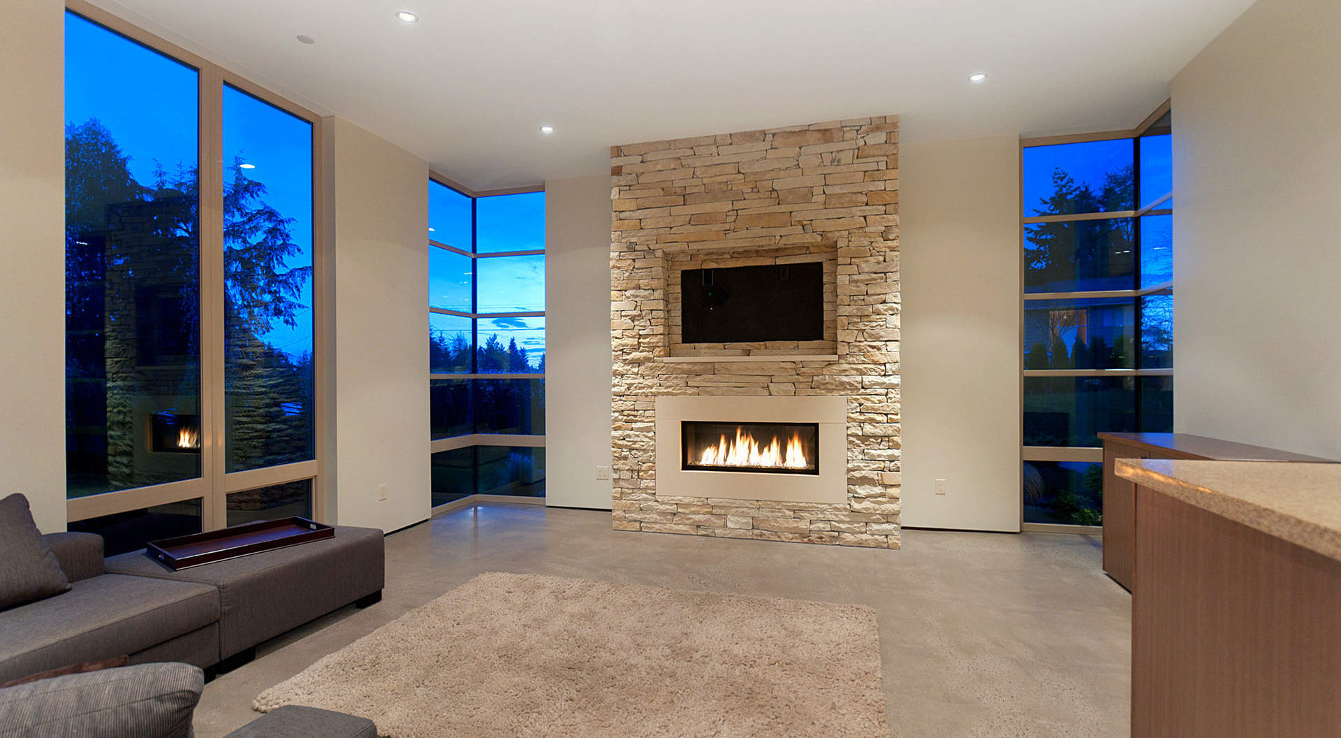 Sensational Great Room with Signature Fireplace & Custom Windows